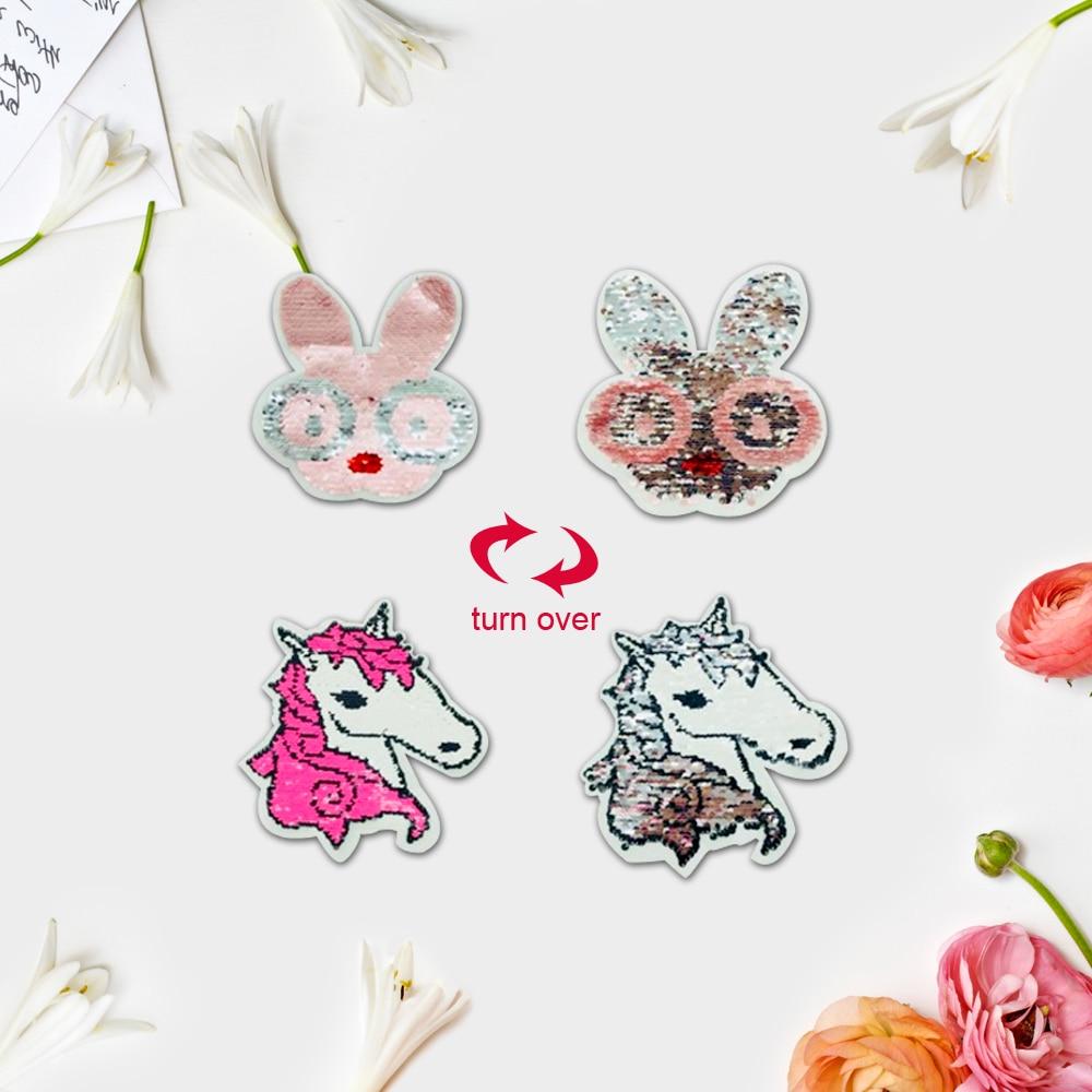 2pcs/lot Sequin Unicorn Rabbit Reversible Change Color Paillette Horse Embroidered Iron On Patch For Cloth Applique DIY Accessor