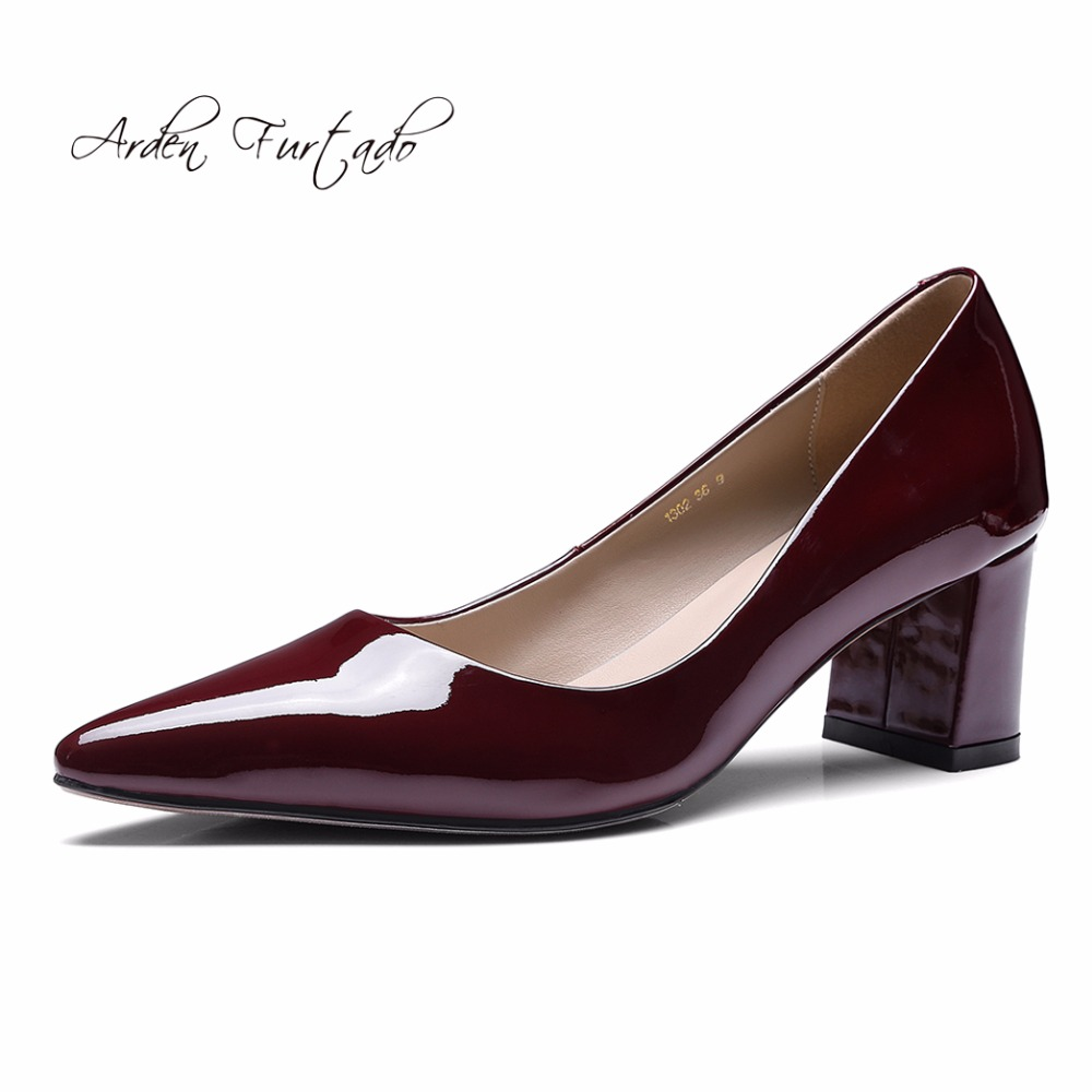 51140b0bd43b Detail Feedback Questions about Arden Furtado 2017 autumn genuine leather  square hoof heels dress shoes for women office lady pumps nude burgundy  fashion ...
