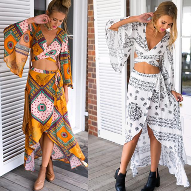 Venta caliente de Las Mujeres de Dos Piezas Traje de Gran Tamaño Crop Top Y Falda Set Mujeres Trajes de Verano Bohimian Verano Conjunto Femme D28-AG83