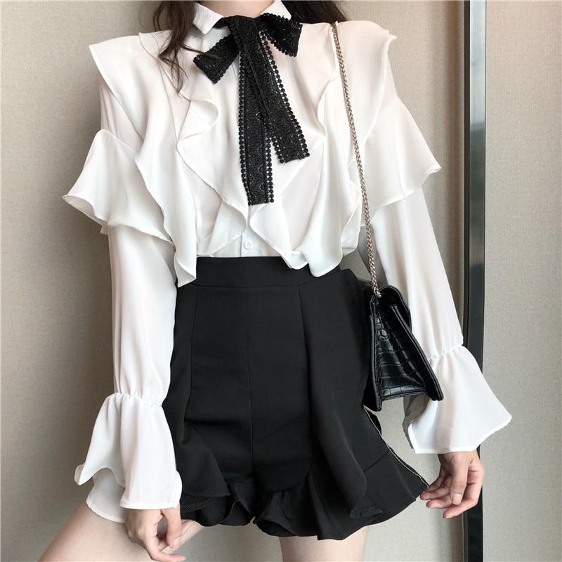 2018 Fashion Spring Autumn Women Shirt Long Flare Sleeve Layered Ruffled Blouse Elegant Bow Tie Blouse Female Fairy White Tops