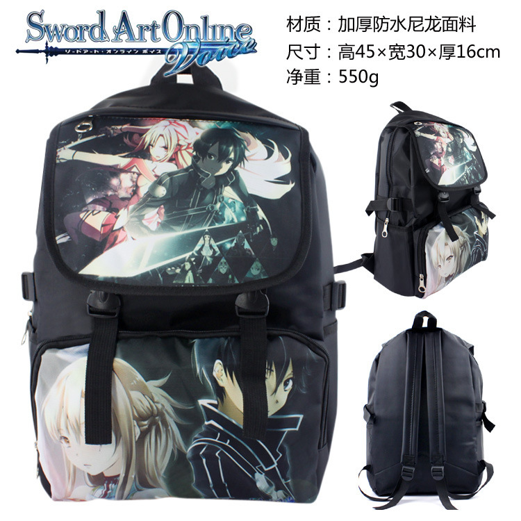 Japan Anime Sword Art Online Backpack School Bag Shoulders Bag Anime Printing Backpack Men Women Knapsack Travel Bag