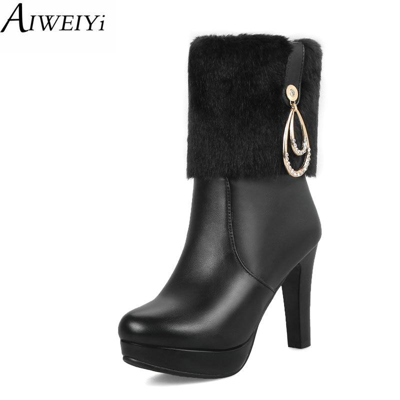 AIWEIYi mode mi-mollet bottes plate-forme talons hauts chaussures femme courte peluche chaud hiver bottes de neige demi-genou bottes noir