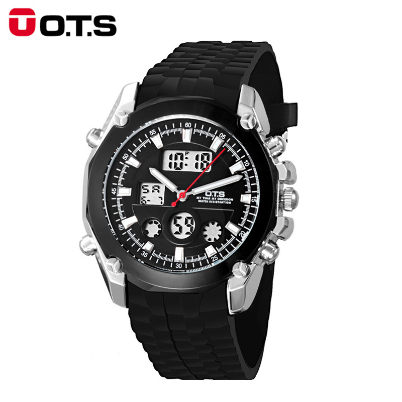 OTS Sports Watches Top Brand Luxury Auto Date Day LED Alarm Black Rubber Band Analog Quartz Military Men Digital Watches relogio