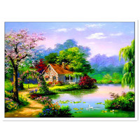 New For Home Decoration Craft Gift Needlework Diy Diamond Embroider Square Drill Full Rhinestone Quiet Countryside
