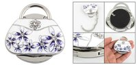 10 pcs/lot RhInestone Inlaid Fower Detail White Handbag Style Folding Purse Hanger
