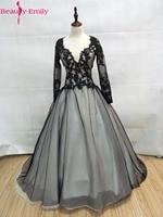 美容のエミリー黒白いレースのウェディングドレス2017プラスサイズブライダルガウンボールガウンヴィンテージローブデのみ| vestidoデ·ノビア