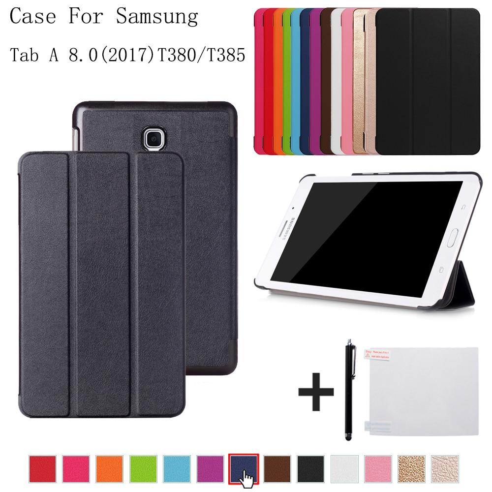 Caso de la cubierta para Samsung Galaxy Tab A 8,0 SM-T380 T385 2017 folio stand funda para samsung Galaxy Tab A2 S SM-T380 T385 + regalo