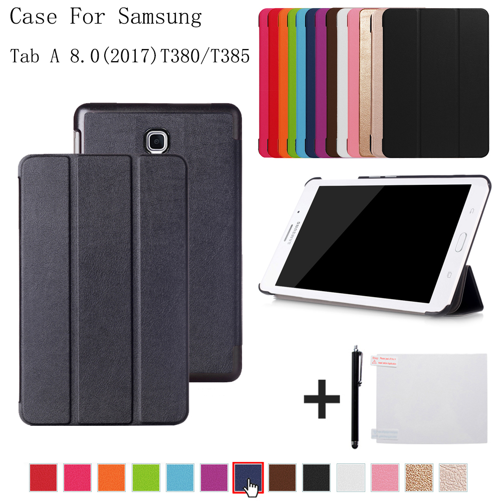 Cover case for Samsung Galaxy Tab A 8.0 SM-T380 T385 2017 folio stand Cover case for samsung Galaxy Tab A2 S SM-T380 T385+gift планшет samsung galaxy tab a 8 0 lte sm t385 16gb