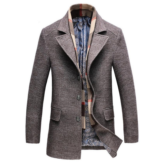 2018 зимний шерстяной жакет Мужская высокого качества шерстяное пальто Модная Повседневная Деловая Мужская плащ куртка мужчины шарф воротник пальто