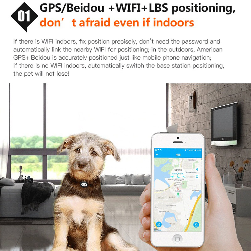 pet traker GPS+LBS+WIFI multiple tracker remote call,remote recording,pet finding,Pedometer for dog supports SIM card