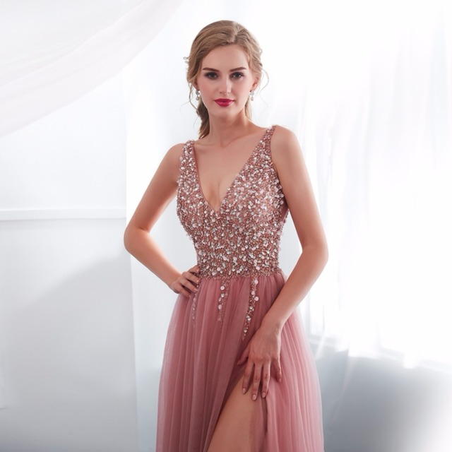 NOBLE WEISS V-neck Evening Gown 2019 Sexy Crystal Beading Split Tulle Prom Dress Floor Length Evening Dress vestido longo festa 4