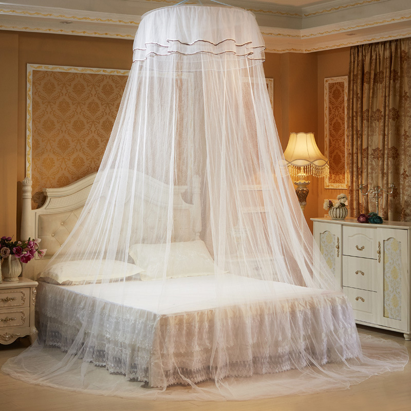 Elegant Hung Dome Mosquito Nets For Summer Polyester Mesh Fabric Mosquito Nets For Girl Circular Lace Insect Bed Canopy Netting