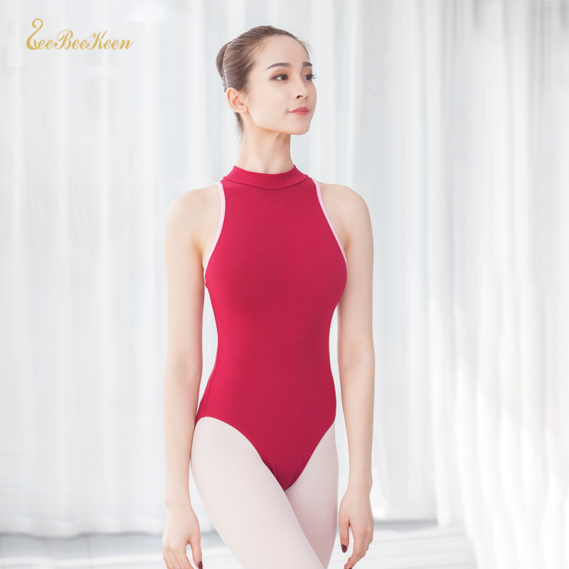 Ballet Practice Clothes Adult Black/Red Gymnastics Leotard Ballet Leotards For Women Sleeveless Stand Collar Backless Bodysuit