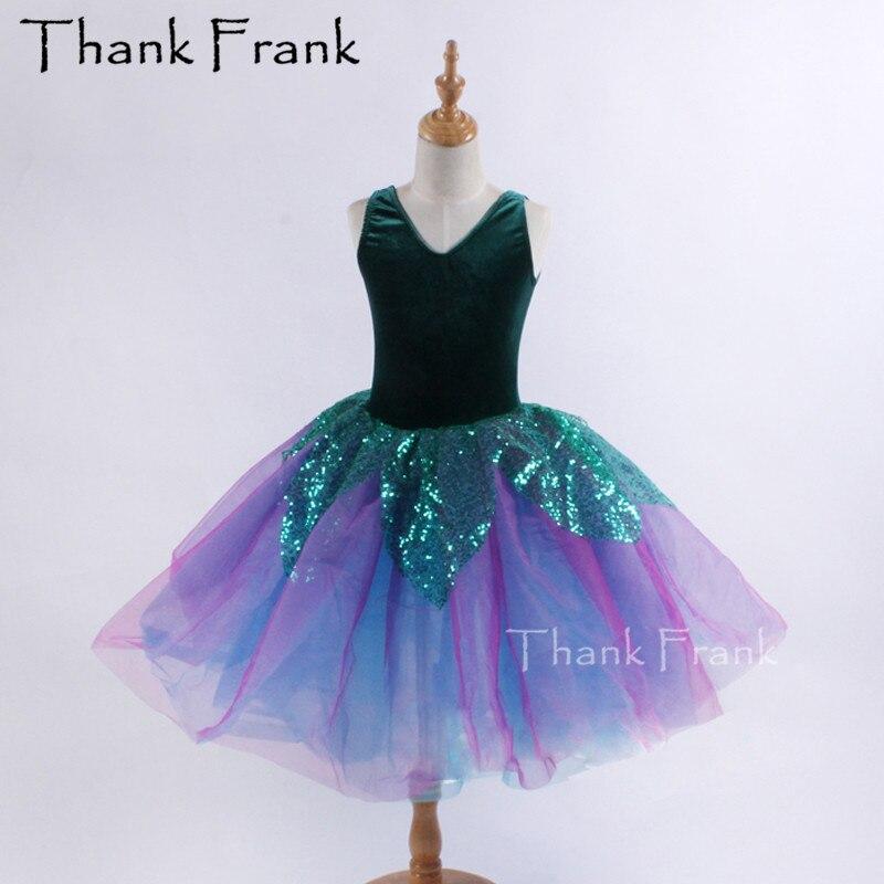 Long Ballet Dresses For Girls Ballerina Dress Kids Velvet Tank Ballet Tutu Dance Dress Women Sequin