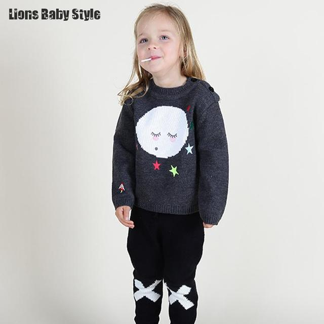 Pullover Wool Kids Girls Cute Sweaters Autumn Winter Cotton Long Sleeve Kids Knitting  Baby Cardigan Sueter Girls Clothes