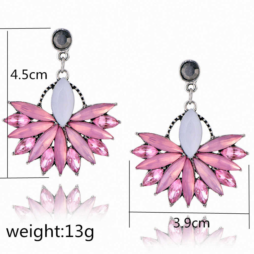 2018 New Women's Fashion Crystal Earrings Rhinestone RED / Pink Glass Black Resin Sweet Drop Earrings Wholesale Jewelry E0226