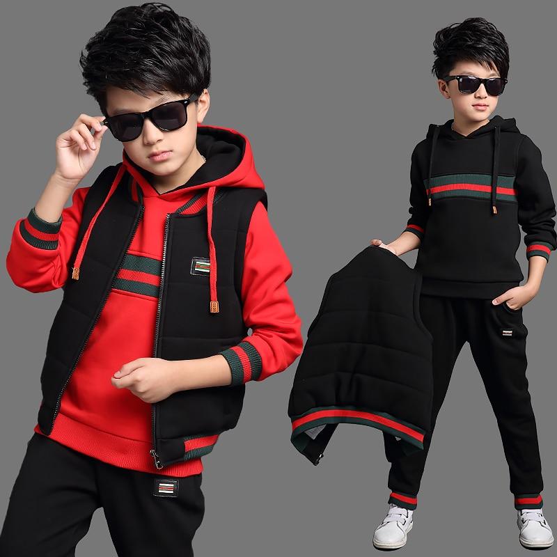 3 4 5 6 7 8 9 10 11 12 13 Years Children's Clothing Set Cotton Warm Sweatshirt + Vest Jacket+pants Sports Suit Kids Boy Clothes