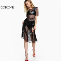COLROVIE Dot Mesh Dress Women Black Wear Patch Detail Split Back Midi Summer Dresses 2017 Fashion