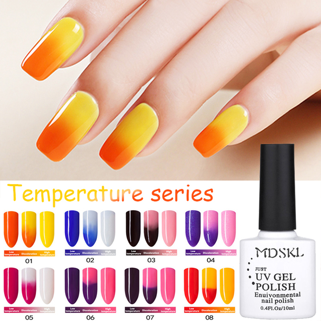 MDSKL 72 Colors 10ML Temperature Change Nail Color UV Gel Nail Polish Soak Off LED Chameleon Nail Polish Lacquer Gel Varnish Art