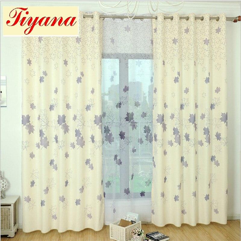 lujo moderno rstico impreso algodn de lino cortinas cenefas hojas patrn de cortina saln cortinas pantallas su040 20