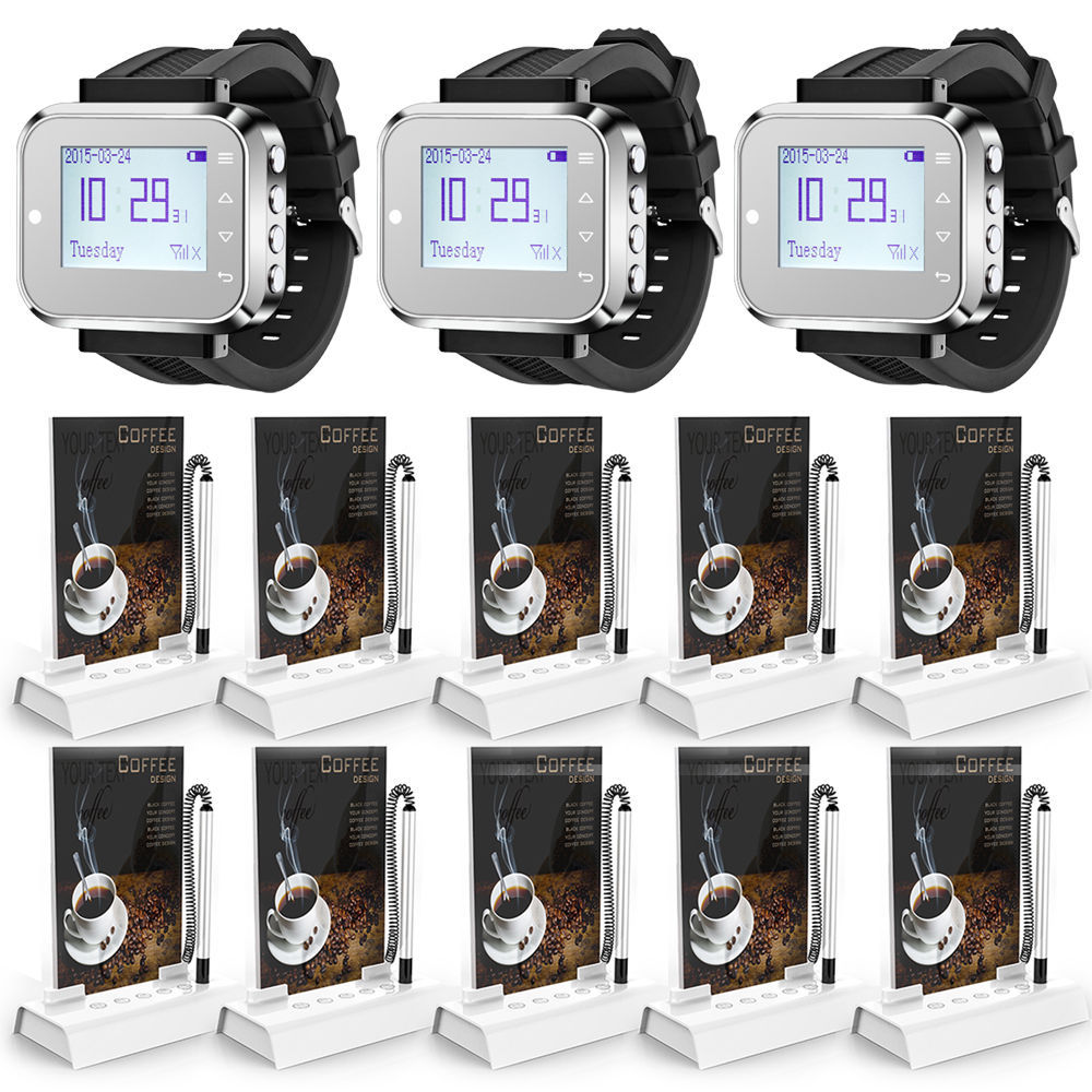 Wrist Pagers Wireless calling System For Restaurant,Coffee Shop,Pub Waiter Service Calling System Wireless Waiter Calling