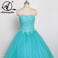 2018 Light Sky Blue Quinceanera Dresses Sweetheart Beads Tulle Floor Length Vizcaga Dresses Sweth 18 Ball Gowns