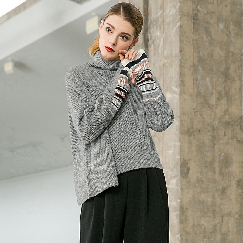 Loose elastic knit plus size pullovers sweater 2018 new long sleeve turtleneck women autumn casual sweater
