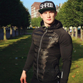 2016 gymshark down jacket winter thermo-aislamiento grueso Tamaño M-XXXL de manga larga negro ropa deportiva abajo ajuste de rendimiento