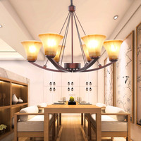 Nordic simple LED chandelier living room chandelier wrought iron lamps bedroom lamps home lamps American chandeliers