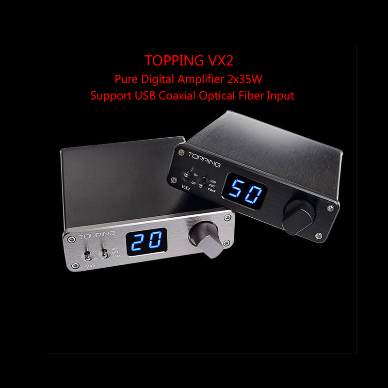 Amplifiers Topping VX2 Pure Digital Amplifier 2x35W HIFI Audio Stereo 24bit/192kHz AMP Support USB Coaxial Optical Fiber Input amplifiers original appj pa1501a mini 6ad10 digital audio voccum tube amplifier hifi desktop amp upgrade version of pa0901a 2017