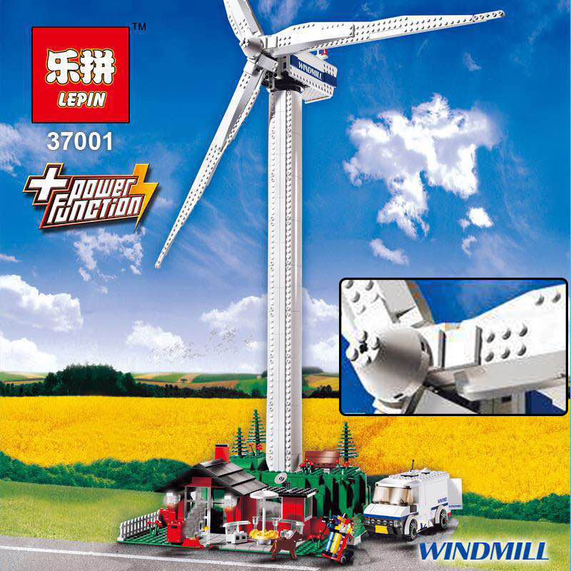Lepin 37001A Creative Series legoing Vestas Windmill Turbine Set Children Building Block Bricks Educational Toy Model Gifts 4999 lepin 37001 creative series the vestas windmill turbine set children educational building blocks bricks toys model for gift 4999