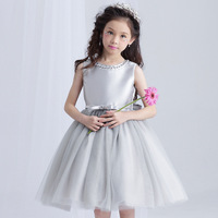 Retail High Quality Children Crystal Neck Boutiques Flower Girls Dress Mesh Princess Gray Evening Party Prom