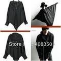 Promoción! hombres súper moda de único triángulo diseño Batwing manga de la cremallera ocasional flojo negro sudaderas con capucha capa de la capa