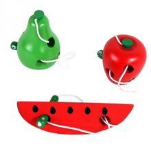 Wooden Trumpet Caterpillar Eat Fruit Pear Watermelon Child Early Education Puzzle Hand Wear Baby Funny Toy App