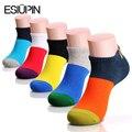 ESIUPIN 5 Пара/лот вскользь мужские носки Многоцветная все матч мужские носки хлопок пот дезодорант Высокого Качества для Мужчин носки размер США 7-11