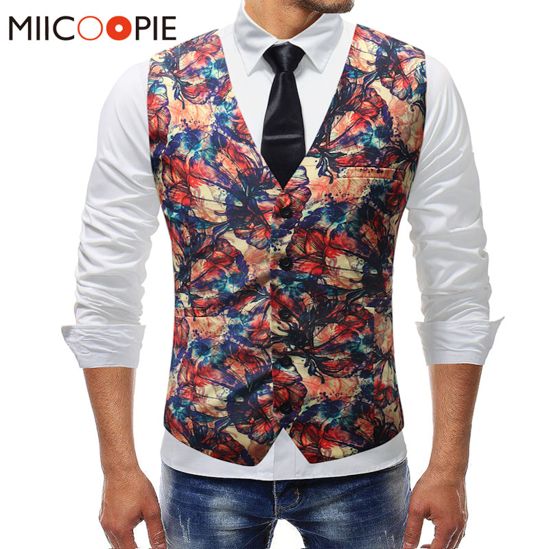 New Men's Gilet Homme Mariage Formal Butterfly Floral Print Wedding Sleeveless Waistcoat Suit Vest Men Colete Masculino 5