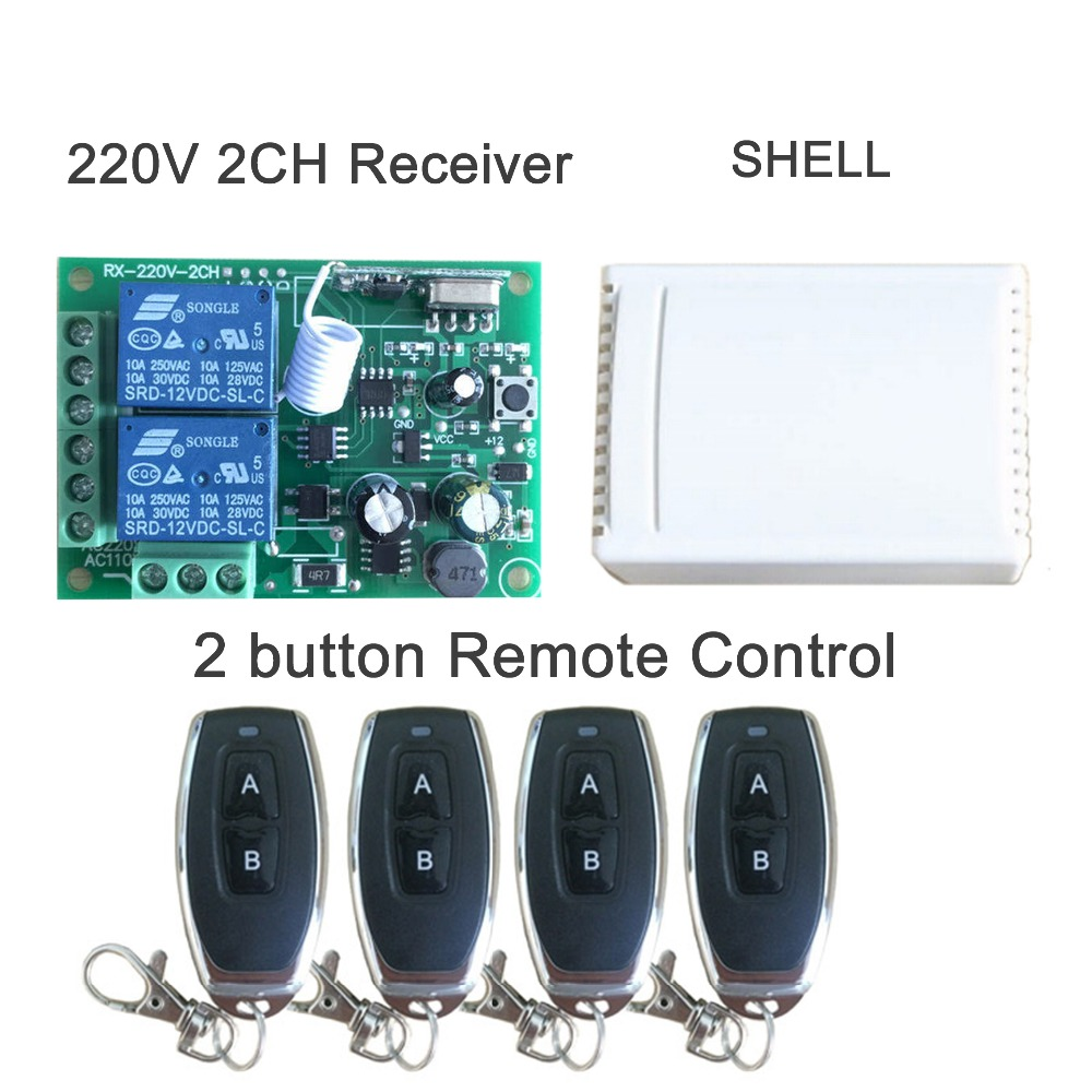 433Mhz Universal Wireless Remote Control Switch AC 250V 110V 220V 2CH Relay Receiver Module and 4pcs RF 433 Mhz Remote Controls