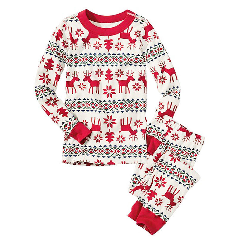 YATFIML christmas prints red white two piece sleeper family ...
