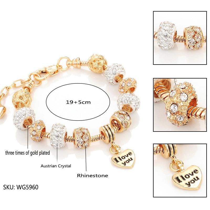 Jiayiqi модные европейские бусы браслет Винтаж DIY Кристалл Серебряный Золотой цвет изделия цепи змейки шарм браслеты для женщин