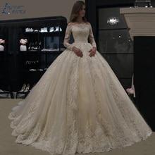 ZL1060 свадебное платье роскошное платье с длинным рукавом Кружевное Свадебное Платье vestido de noiva robe de mariee vestidos de festa платье невесты