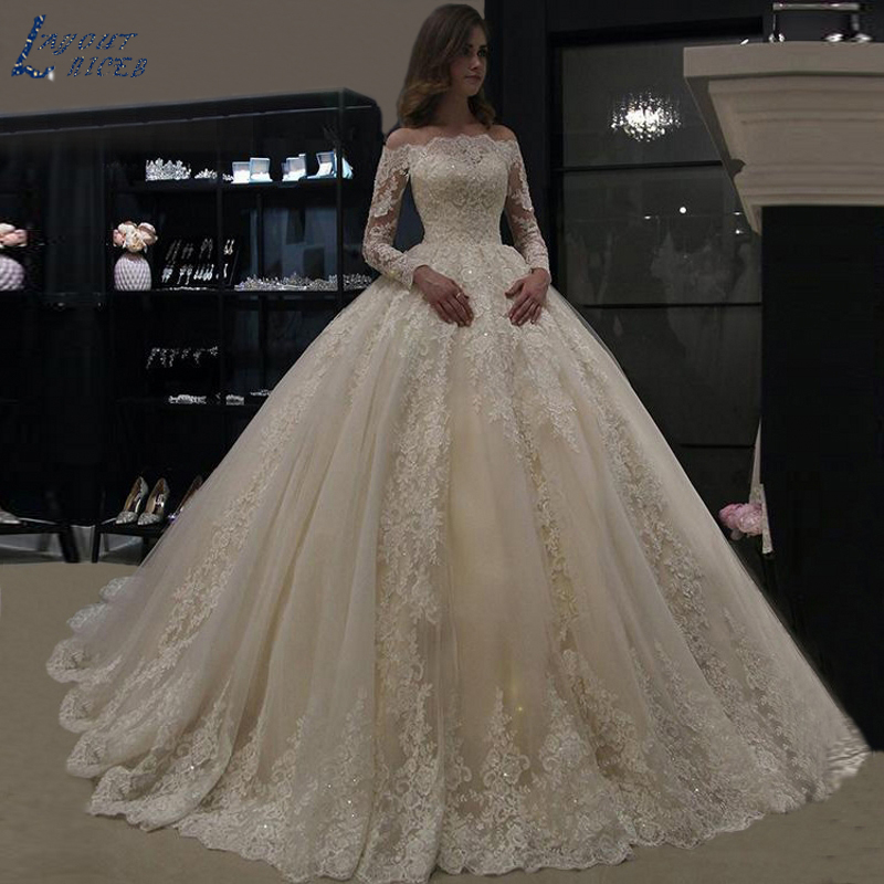 ZL1060 Wedding Dress 2019 Luxury Long Sleeve Lace Wedding Gowns Vestido De Noiva Robe De Mariee Vestidos De Festa Bride Dress
