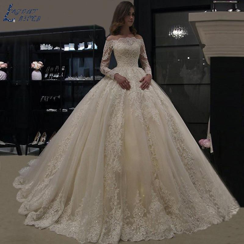 ZL1060 Wedding Dress 2019 Luxury Long Sleeve Lace Wedding Gowns Vestido De Noiva Robe De Mariee Vestidos De Festa Bride Dress