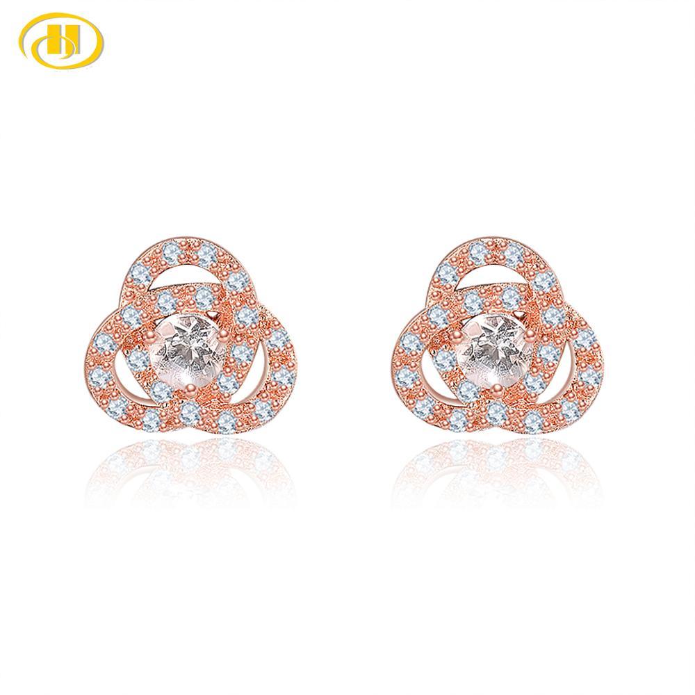 Hutang naturel Morganite boucles d'oreilles solide 925 en argent Sterling cubique zircone Fine rose pierre gemme élégant bijoux pour les femmes nouveau