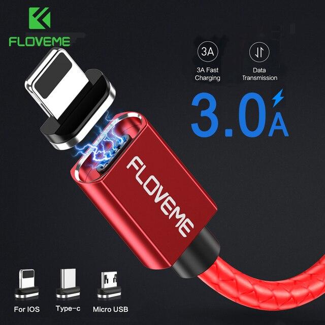 FLOVEME 3A Магнитный кабель Кабель с разъемом микро-USB типа C для iPhone 1 м Быстрая зарядка USB C Телефон Магнит Зарядное устройство для samsung Xiaomi Кабо магнитный кабель зарядное устройство usb кабель магнитная C
