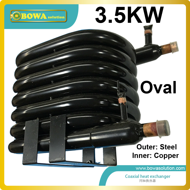 3.5KW tube-in-tube heat exchanger coils suitable for 12000BTU/3000kcal heat pump water heater or 1HP refrigeration units 11 6kw coaxial heat exchanger coils suitable for 3hp 3 in 1 cooling heating and hot water heat pump air conditioner