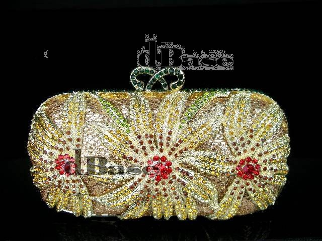 #1518 Multi-colorA Crystal Flower Floral Lily Bridal Party hollow Metal Evening purse clutch bag handbag