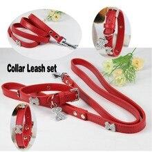 Pet Dog Collar Leash Perro Collar Lead for small big Dog S M L Red Pu Material Bling Diamond Bone Large Dog Collar leash set