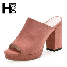 HEE GRAND Flock Mules Summer Sexy High Heels Platform Shoes Woman Slippers Slip On Slides Pumps Fashion Women Shoes XWZ3250