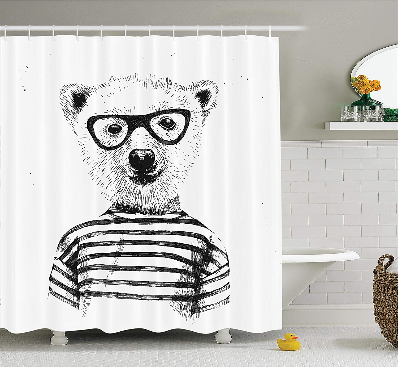 Decor Shower Curtain Hipster Nerd Smart Male Bear In