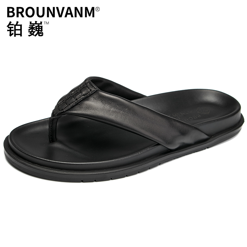 Summer flip flops men anti skid personality sandals men fashion leather sandals fender summer men genuine leather slippers in Slippers from Shoes